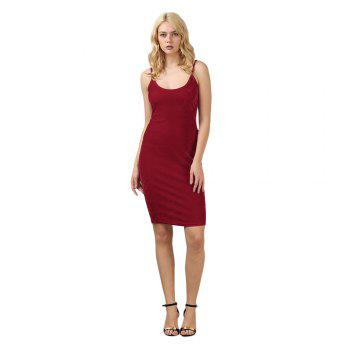 Brief Sleeveless Spaghetti Strap Dress for Women - CERISE S
