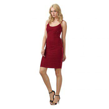 Brief Sleeveless Spaghetti Strap Dress for Women - CERISE M