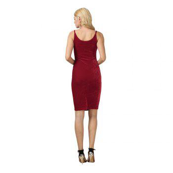 Brief Sleeveless Spaghetti Strap Dress for Women - CERISE L
