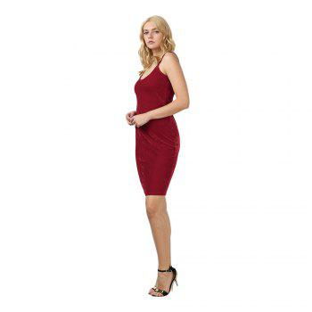 Brief Sleeveless Spaghetti Strap Dress for Women - CERISE XL