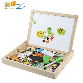 Muwanzi Multifunction Wooden Forest Farm Magnetic Puzzle Children Drawing Board Toys