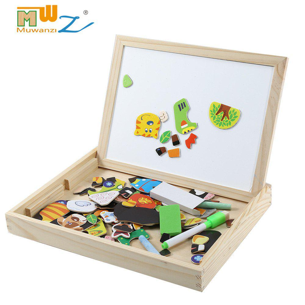 Muwanzi Multifunction Wooden Forest Farm Magnetic Puzzle Children Drawing Board Toys simingyou wooden puzzles for children forest park multifunctional magnetic kids puzzle drawing board educational toys wdx41