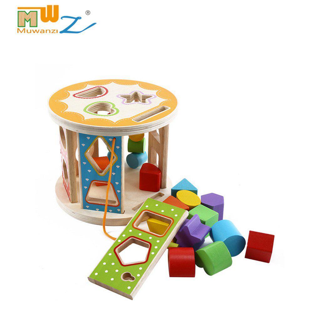 Muwanzi Wooden Shape Matching Building Block Puzzle Intelligence Educational Game Toys for Kids - multicolor