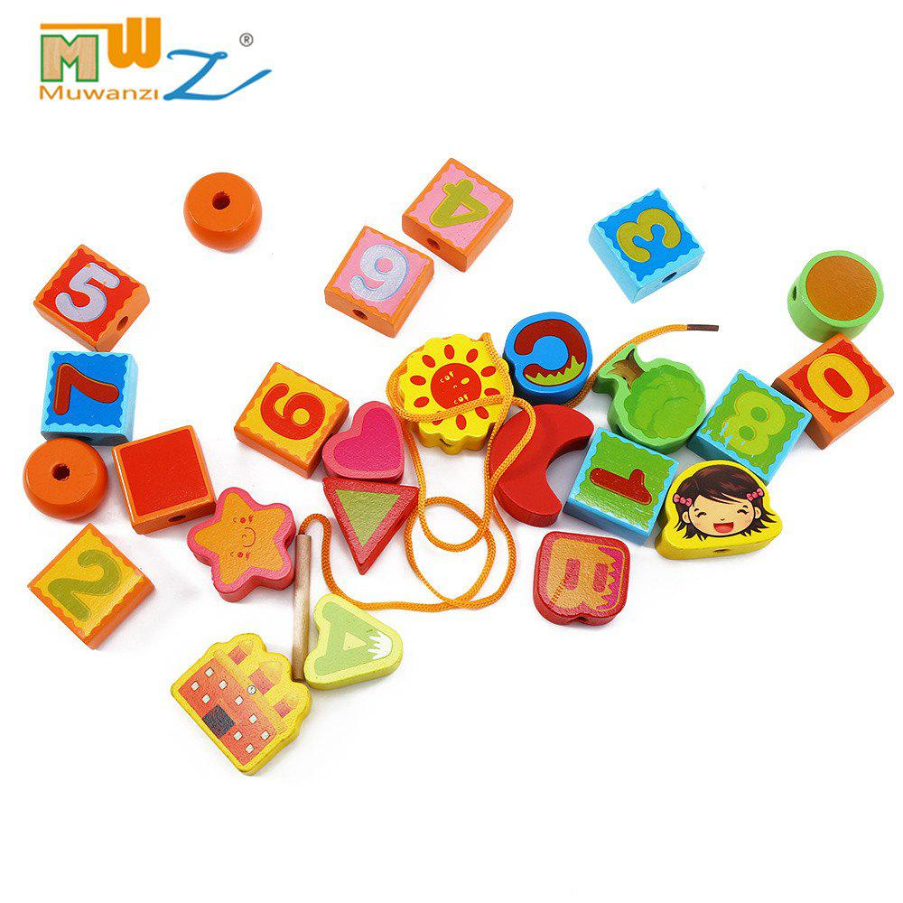 Muwanzi Wooden Beaded Toys Colorful Mini Building Blocks for Toddler new magnet game mini enlighten magnetic building blocks models