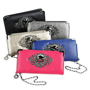 Guapabien Old Classical  Punk Handbag Zipper New Wallet Skull Woman Purse -  BLACK