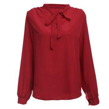 Stylish V-neck Long Sleeve Pure Color Bust Bow Tie Design Women Blouse