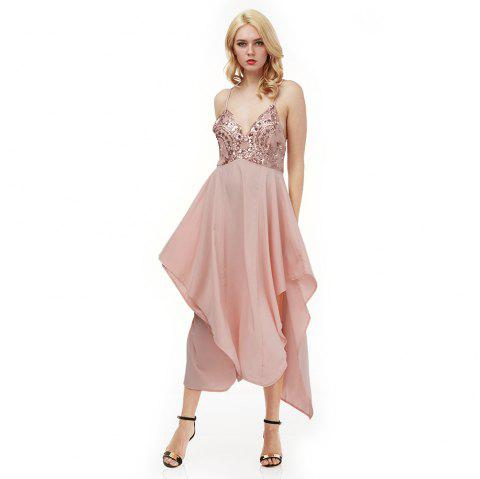 Sexy Spaghetti Strap Sequins Decoration Pleated Asymmetrical Hem Dress for Women - NUDE PINK S