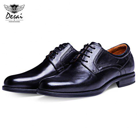 DESAI Business Pointed Toe Solid Color Leather Shoes for Men - BLACK 40