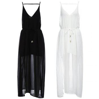 Sexy Suspender Plunging Neck Backless Hollow Out Liner with Belt Side Slit Pure Color Ankle-length Women Chiffon Dress - BLACK M