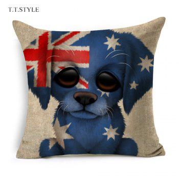 T.T.STYLE Dog with Flag Colored Drawing Cotton Linen Pillow Cover Home Decoration