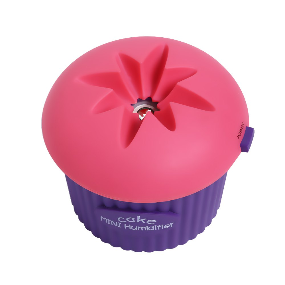 200ml Ultrasonic USB Cool Mist Mini Cupcake Shape Humidifier - Rose