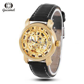 Gucamel G046 Men Auto Mechanical Watch Hollow Dial Luminous Leather Band Wristwatch