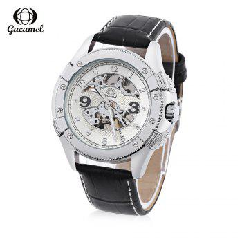 Gucamel G016 Men Auto Mechanical Watch Hollow Dial Luminous Leather Band Wristwatch