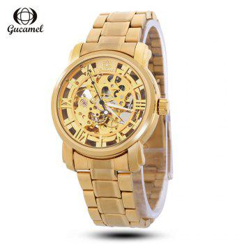 Gucamel G046 Men Auto Mechanical Watch Luminous Hollow Dial Stainless Steel Band Wristwatch