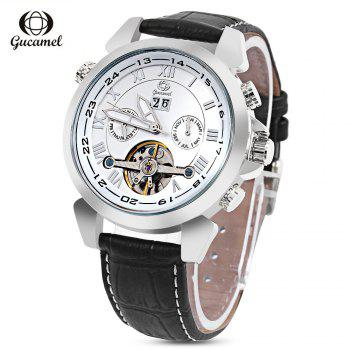 Gucamel GC038 Men Auto Mechanical Watch Tourbillon Date Luminous Leather Band Wristwatch