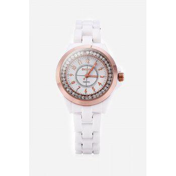 SKONE 7243 Ceramic Rhinestone Embedded Quartz Women Watch with Bracelet Clasp - ROSE GOLD