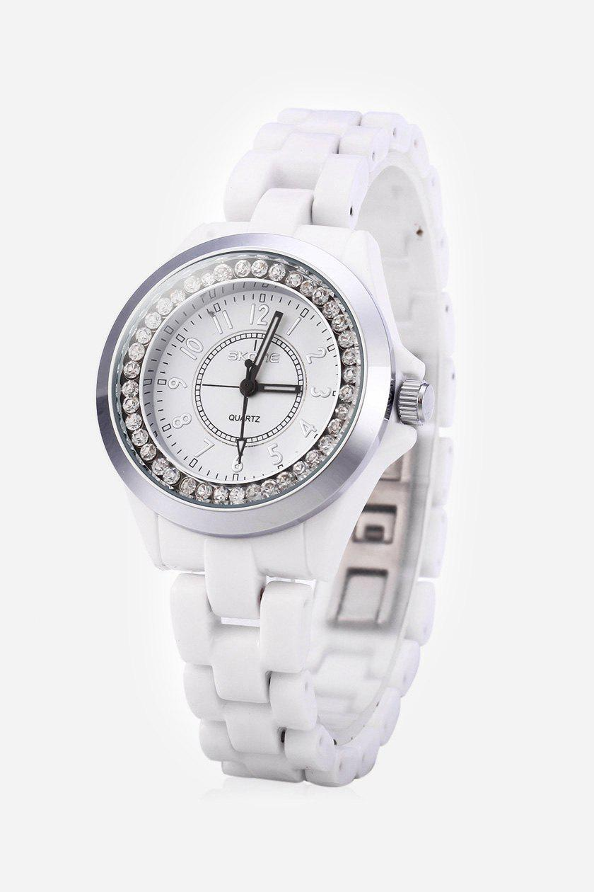 SKONE 7243 Ceramic Rhinestone Embedded Quartz Women Watch with Bracelet Clasp - WHITE GOLD
