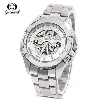 Gucamel G016 Men Auto Mechanical Watch Hollow Dial Luminous Stainless Steel Band Wristwatch