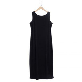 Brief Round Collar Sleeveless Solid Color Dress for Women - BLACK L