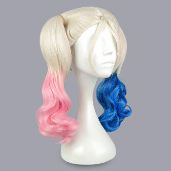 Cosplay Synthetic Hair Curly Pink Blue Wigs Costume - WHITE / PINK / BLUE