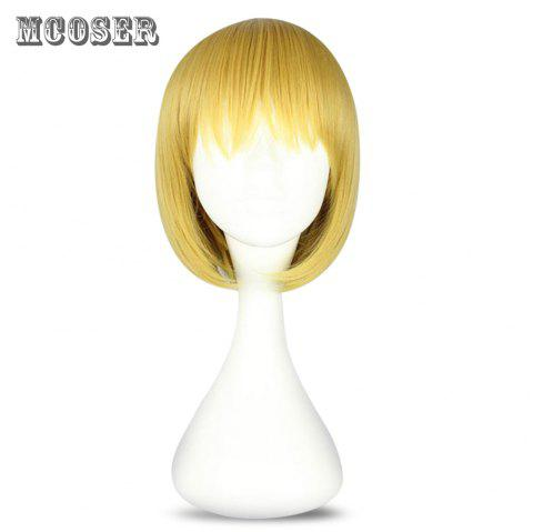 Mcoser High Temperature Short Straight Tail Adduction Anime Wig Cosplay for Armin Arlart - YELLOW