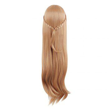 Mcoser High Temperature Long Straight Inclined Bang Anime Wig with Braids - LIGHT BROWN