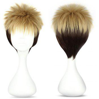 Mcoser High Temperature Short Straight Full Bang Shaggy perruque Anime à deux tons - Brun et Or