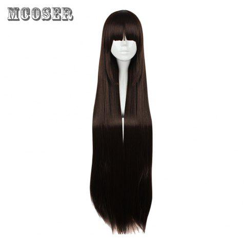 Mcoser High Temperature Long Straight Full Bang Anime Wig Cosplay for Kurosawa Dia - DEEP BROWN