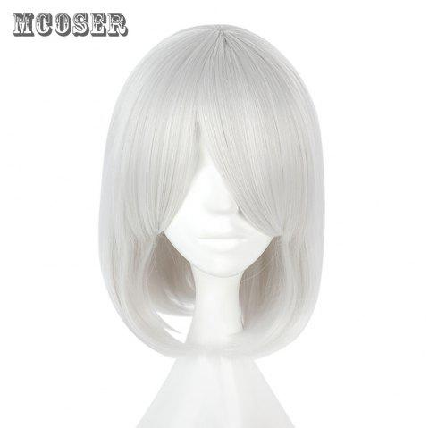 Mcoser Tail Adduction Short Straight Side Bang Anime Wig Cosplay for NieR Automata - WHITE