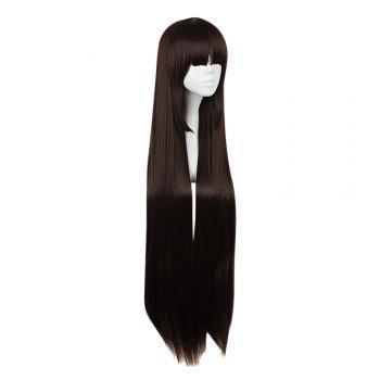 Mcoser High Temperature Long Straight Full Bang Anime Perruque Cosplay pour Kurosawa Dia - marron foncé
