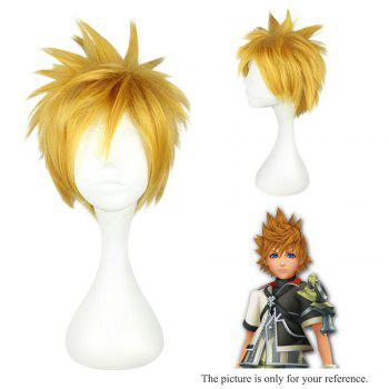 Mcoser High Side Short Side Shaggy Anime perruque Cosplay pour Ventus - Jaune
