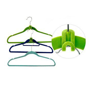 10pcs Creative Mini Flocking Clothes Hanger Hook Closet Organizer - BLUE