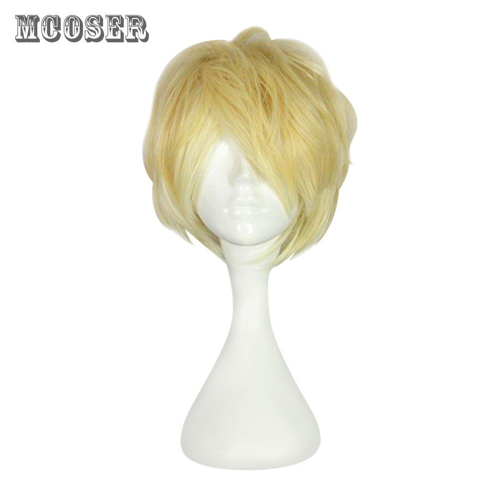 Mcoser High Temperature Side Bang Short Curly Anime Wig Cosplay for Sakamaki Shu - SAFFRON YELLOW