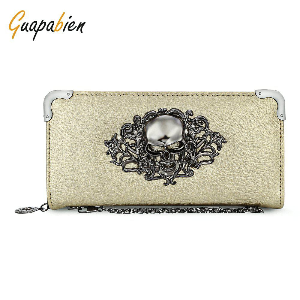 Guapabien Old Classical  Punk Handbag Zipper New Wallet Skull Woman Purse - GOLDEN
