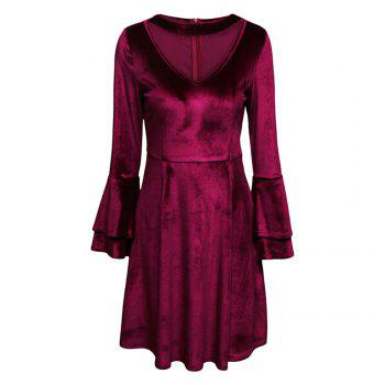 Sexy Round Collar Cut Out Layered Bell Sleeve Velour Women Dress - WINE RED M