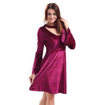 Sexy Round Collar Cut Out Layered Bell Sleeve Velour Women Dress - WINE RED WINE RED