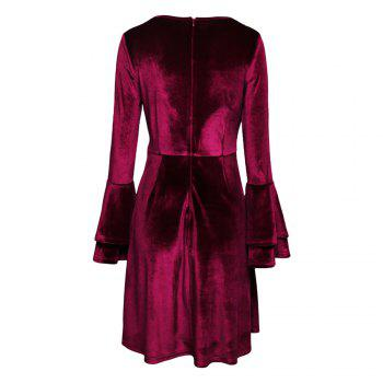 Sexy Round Collar Cut Out Layered Bell Sleeve Velour Women Dress - WINE RED XL