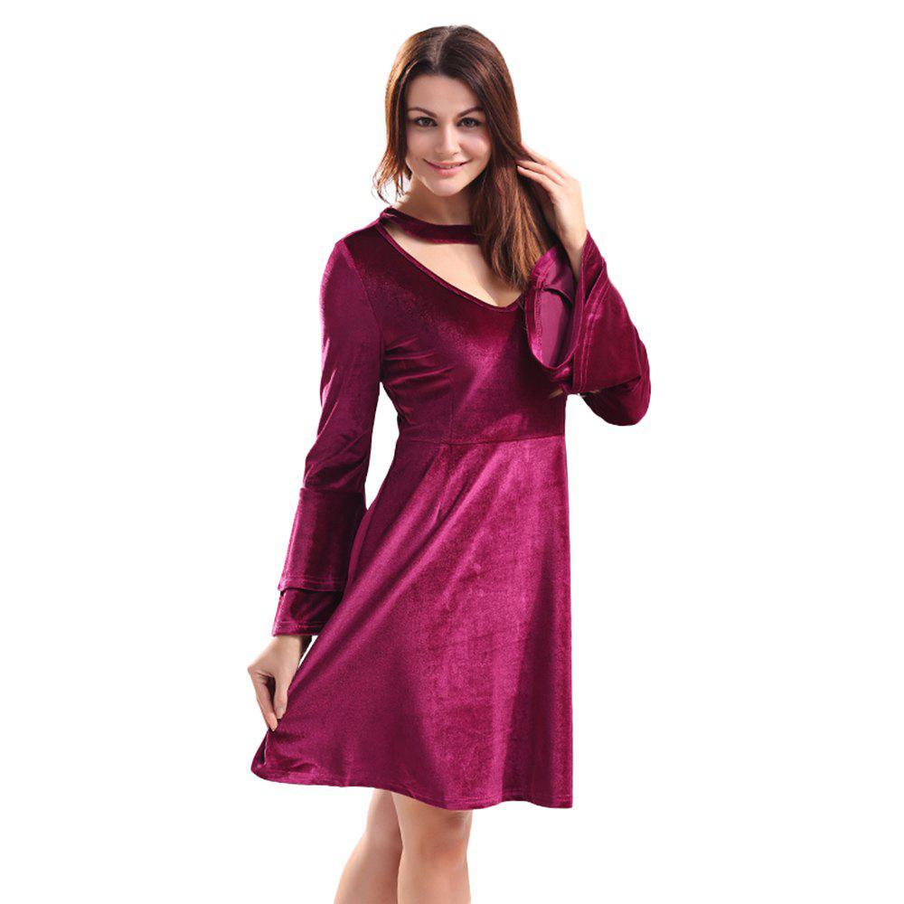 Sexy Round Collar Cut Out Layered Bell Sleeve Velour Women Dress - WINE RED S