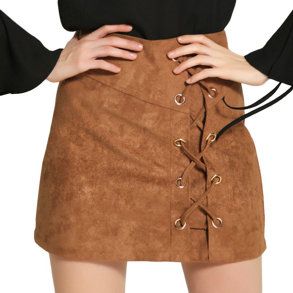Trendy High Waist Criss Cross Lace-up Zipper Suede Women Mini Skirt - KHAKI L