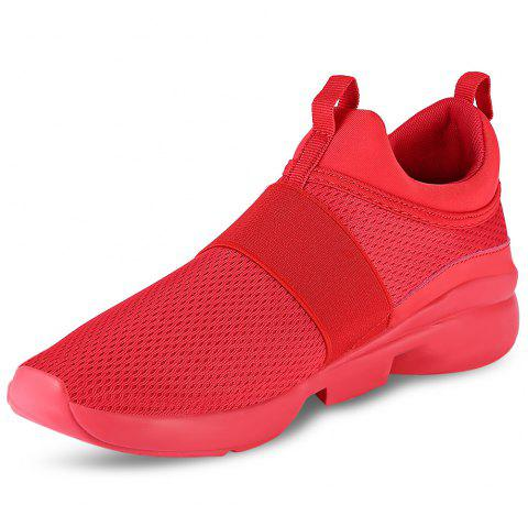 Casual Pointed Toe Mesh Spliced Breathable Slip-on Men Shoes - RED 41