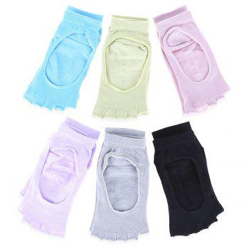 Women Yoga Dance Sports Pilates Anti-Slip Exercise Massage Half Toe Chaussettes - Pers