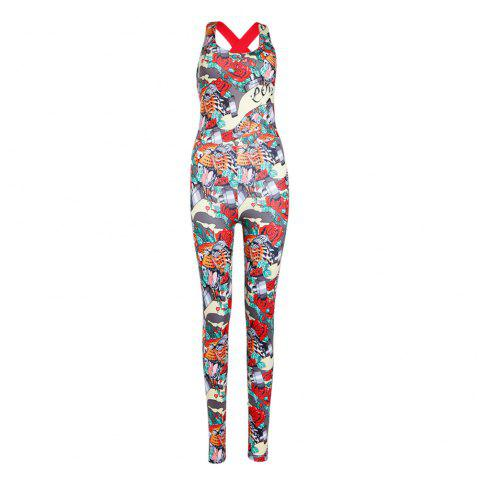 Trendy Backless Print Padded Sporty Women Jumpsuit - RED S