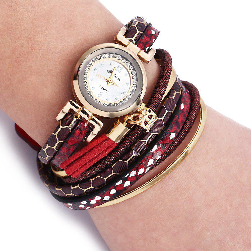 FULAIDA Women Quartz Watch Rhinestone Tassel Decoration Leather Band Wristwatch - RED
