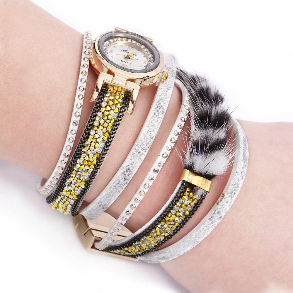 FULAIDA Women Quartz Watch Rhinestone Fur Decoration Leather Band Bangle Fashion Wristwatch - WHITE
