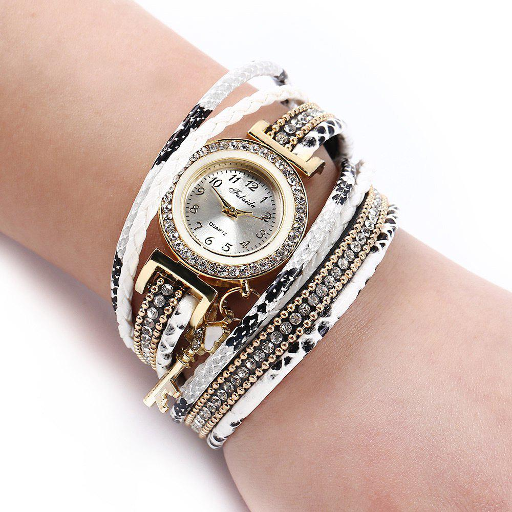 FULAIDA Women Quartz Watch Leather Band Tassel Decoration Rhinestone Wristwatch - WHITE