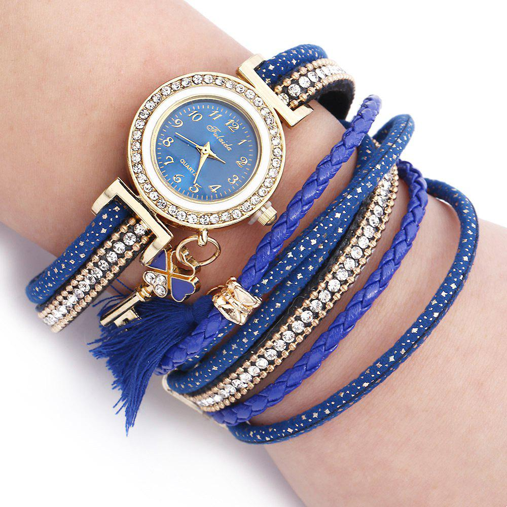 FULAIDA Women Quartz Watch Leather Band Tassel Decoration Rhinestone Wristwatch - BLUE