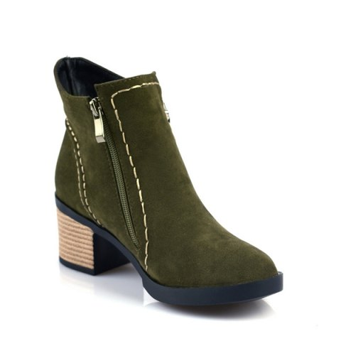 142c7668c06 Fashion Women Round Toe Chunky Heel with Zip Ankle Boots