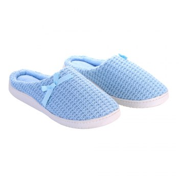 Ladies Cashmere Cotton Knitted Anti-slip House Slippers - BLUEBELL ONE SIZE(35-40)