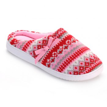 Ladies Cashmere Cotton Knitted Anti-slip House Slippers - RED/PINK RED/PINK