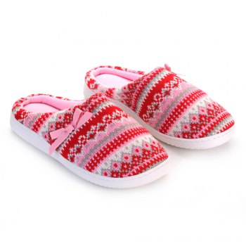 Ladies Cashmere Cotton Knitted Anti-slip House Slippers - RED AND PINK RED/PINK